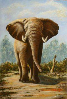 "Twenty Original Paintings by Eighteen African Artists | ... John. Original. Realistic. One of the ""Big Five"" African Wildlife Art"