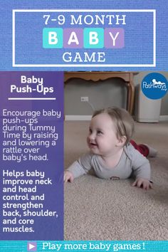 Time for push-ups during #TummyTime to strengthen baby's neck, back, head, core, and shoulder muscles! This game is ideal for 7-9 month olds. Get more baby game ideas at Pathways.org! #pediatricpt #babygames #motorskills #physicaltherapy #babyactivities #babyplay #motordevelopment #learningthroughplay #babyactivities #babyfun #grossmotor #pushup #babymilestones #7monthsold #8monthsold #9monthsold 6 Month Baby Games, 7 Month Old Baby Activities, Baby Learning Activities, 9 Month Old Baby, Infant Activities, Muslim Baby Names, Baby Life Hacks, Kindergarten Songs, Baby Workout