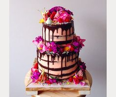 Katherine Sabbath's drip cake with layers of double chocolate brownie, filled with cookie dough, Turkish Delight & peanut butter fudge. Covered in raspberry rose buttercream & dark chocolate ganache ~ we ❤ this! moncheribridals.com
