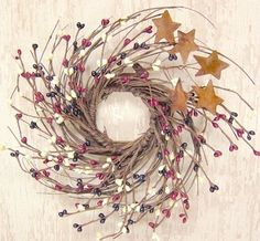 Country Mix Pip and Twig with Rusty Star Wreath 7Inch -- Click on the image for additional details.