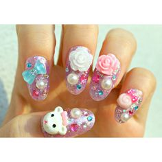 Pastel nail, deco nails, 3D nail, pastel, whimsical, teddy bear,... ($23) ❤ liked on Polyvore featuring beauty products, nail care and nail treatments