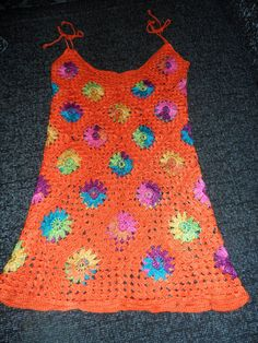Crochet granny square orange tangerine multicolour by krittenart