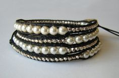 Pearl And Silver Nugget Leather Wrap Bracelet by patunias on Etsy