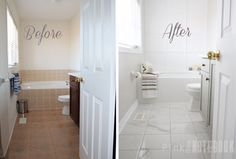 warm white walls walnut floor and bath panel and white tiles Rust-Oleum Tile Transformations Kit | pink little notebook