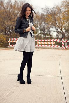 black tights, black shoes, black jacket -- yes please.