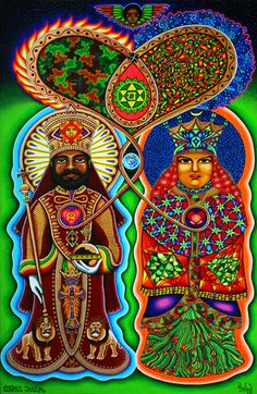 King n Queen (collabo Valerie Lambert) Painting - Chris Dyer - Psychedelic, Street, Skate & Visionary Art Art Rasta, Rastafari Art, Rastafarian Culture, Art Visionnaire, Psy Art, Thing 1, Visionary Art, Sacred Art, King Queen