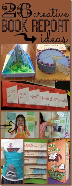 26 Book Report Ideas 26 creative book report ideas so many really unique and FUN book report projects for kids of all ages Kindergarten grade grade grade grade and grade. (homeschool writing) The post 26 Book Report Ideas appeared first on School Ideas. Book Report Projects, Reading Projects, Book Projects, Projects For Kids, Creative School Project Ideas, English Projects, Projects For School, Creative Homework Ideas, Stem Projects