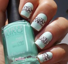 monster, stamp nail, colorful nails, swirl, fancy nail designs, nail art designs, mint, nail arts, fancy nail art