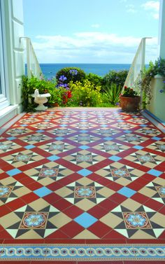 Original Style Blenheim geometric design with encaustic style tile, together with Telford border. Porch Tile, Patio Tiles, Outdoor Tiles, Ceramic Floor Tiles, Tile Floor, Ceramic Plates, Hall Tiles, Tiles Uk, Hall Flooring