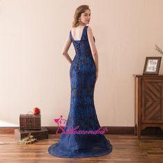 3612010ef3 Sukienka Alexzendra Stock Double V Neck Mermaid Niebieskie sukienki  wieczorowe 2018 Cekiny Formalne suknie wieczorowe Sukienki