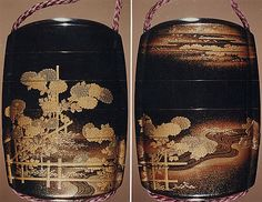 Case (Inrô) with Design of Chrysanthemums by a Stream Period: Edo period (1615–1868) Date: 19th century Culture: Japan Medium: Sprinkled gold lacquer; Ojime: agate, Netsuke: carved wood frog on old bucket