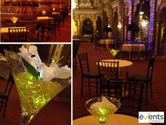 Martini Glass Centerpieces with yellow dice... perfect for a James Bond Casino Royale theme. Venue: Landmark Theatre, Syracuse, New York    www.theeventscompany.com