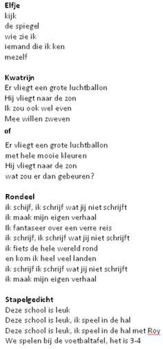 Gedichten -> soorten gedichten