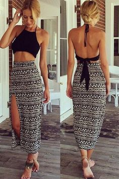 This two pieces dress set have complex print long maxi skirt and black sleeveless backless crop top. That¡¯s perfect collocation, can show you sexy and elegant at the same time. You will be the centra