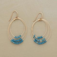 """Faceted apatite rondelles slide along graduated gold hoops like beads on an abacus. Sundance exclusives handmade in USA; 14kt goldfill, including French wires. 1-7/8""""L.  178.00"""