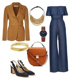 """""""Brown and blue"""" by jalepe ❤ liked on Polyvore featuring WithChic, Fairchild Baldwin, Boden, Victoria Beckham and Karen Kane"""