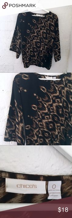 Chico's Printed Blouse Scoop neck  3/4 Flare Sleeve  Elastic at hem  Brown and black design  100% Polyester  Size: 0 Length: 24.5in  Bust: 20in    Condition: Like New, No Damage   No Pets  Non-Smoking home  Every item steamed throughly before shipped!  Ships from Santa Monica, CA Chico's Tops Blouses