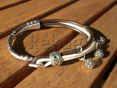 women brown leather bracelet sterling silver plated half by kekugi, $23.00
