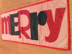 Merry Christmas Table Runner, Red & Green Fabric Table Runner, Christmas, Holly Table Runner, Christmas Decoration - pinned by pin4etsy.com