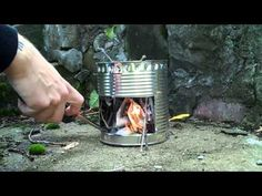 How to make a Hobo stove (YouTube) ~ a bigger can so you can put a small pot on top!  Brilliant...