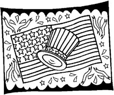 flag & hat 2 Coloring Page