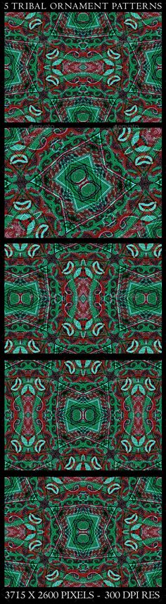5 Tribal Ornament Background Patterns 5 Digital collage technique tribal style decorative ornament seamless pattern in vibrant red and green tones in jpg format useful as pattern, background decorative or tribal topics. african design, #africanpattern, african style, abstract, artistic, #aztecpattern, background, collage, creative, decorative, design, digital, #ethnicpattern, indian, manipulated, ornament, pattern, seamless, tileable, tribal, #tribalpattern , tribal fabric, tribal wallpaper