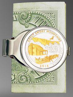 "Great Smoky Mountains ""America The Beautiful"" Quarter Money Clip C307-IUS2 $59"