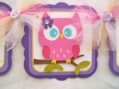 Owl banner, baby shower banner, its a girl, lavendar, purple, orange, white, pink and ivory polka dots. $30.00, via Etsy.