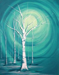 We love this painting! Originally posted by Muse Paintbar Events Painting Classes Wine Painting, Painting & Drawing, Wine And Canvas, Guache, Paint And Sip, Easy Paintings, Learn To Paint, Pictures To Paint, Tree Art