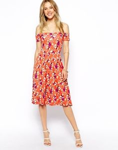 ASOS Midi Bardot Skater Dress in Floral Print