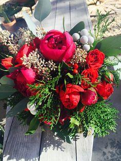 Red Peony bouquet, seeded Eucalyptus, cedar, silver bruina, black velvet handle wrap. #soleilflowers