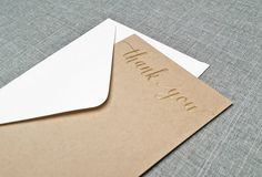 Gold Foil Hot Stamped Kraft Wedding Thank You Cards