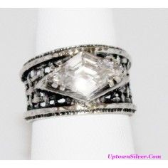 Silpada Israel Artisan Jewelry 925 Sterling Silver Marquise Cubic Zirconia Wide Woven Band Ring Size 7 Rare Retired