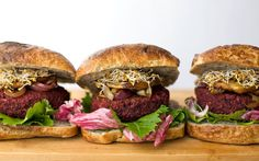 Beets give these burgers their gorgeous pink color and earthy flavor while freshly cooked black beans add a meaty texture.