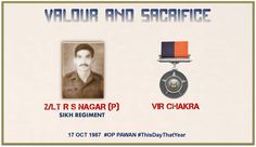 For his inspiring leadership courage & initiative in best traditions of #IndianArmy in the face of the enemy. Awarded #http://VirChakrapic.twitter.com/LXpYwiDmqg #IndianArmy #Army