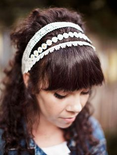This is a DIY, can you believe it? The full tutorial... --> http://abeautifulmess.typepad.com/my_weblog/2012/04/lace-headband-diy.html
