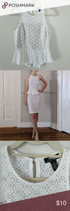 NWOT Fashion Star White Lace Peplum Top New without tags Fashion Star from Macy's  Size 2 White lace Peplum blouse with peephole in back Side zipper  Lined Looks great with the matching lace skirt also for sale in a separate listing Smoke free home Macy's Tops Blouses