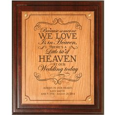 Theres a little bit of heaven at our wedding In loving Memory Personalized wedding memorial,In Memory of Dad, In Memory of Mom,sympathy gift by DaySpringMilestones on Etsy