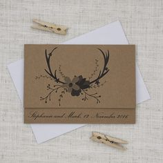 This kraft wedding invitation is a folded concertina, featuring a set of deer antlers and a fun bunch of florals.  The kraft cards gives a rustic, natural and woodsy feel, while the text choices retain a sense of formality and tradition.    http://bemyguest.co.nz/archives/item/deer-antlers-flowers-concertina-wedding-invitation/
