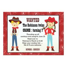 Cowboy Birthday Party Invitations Cowboy and cowgirl birthday invitation
