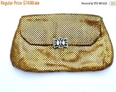 Sale Whiting & Davis Clutch Purse Gold by TheJewelryLadysStore