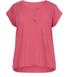 Inspire Pink Zip Detail V Neck T-Shirt