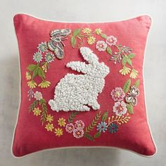 Pier 1 Imports Spring Happy Easter Throw Pillow NWT Beaded