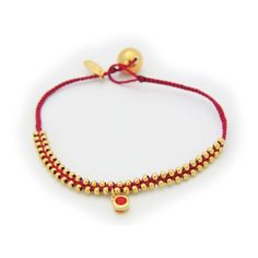 Silver Gold Plated Beads Red Cord January Bracelet Siam Cz Birthstone Hangging 6""