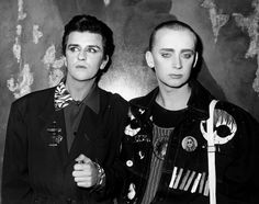 """Steve Strange (left) pictured with Boy George at London's Limelight  nightclub October 1986. """""""