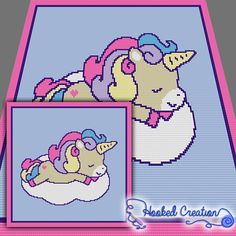 Sleepy Time Unicorn SC Baby Blanket Crochet Pattern - PDF Download