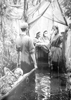 Improvised Viet Cong operating room in a mangrove forest on the Ca Mau Peninsula, September 15th, 1970.