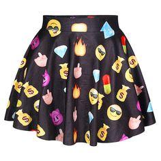 Black Ladies Emoji Printed Fashion Cute Pleated Skirt ($14) ❤ liked on Polyvore