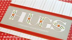 Jennifer McGuire Hugs Card with stitched background