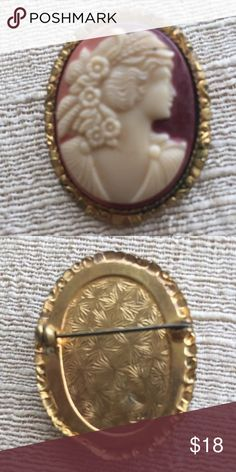 "Vintage Oval Cameo Vintage cameo Gold tone setting slight bend in setting which is not noticeable from front 2"" in length Vintage Jewelry Brooches"